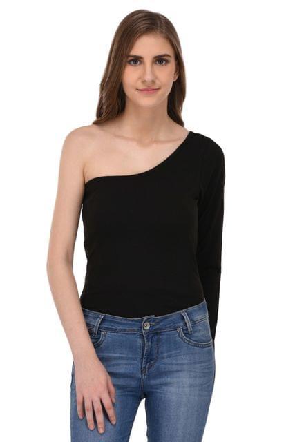RIGO Black One Shoulder Top for Women