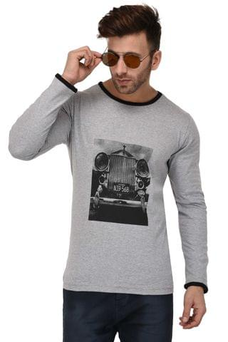 Rigo Grey Vintage Car Print Full Sleeve Slim Fit Tshirt For Men