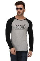 Rigo Grey And Black Rogue Print Full Sleeve Slim Fit Tshirt For Men