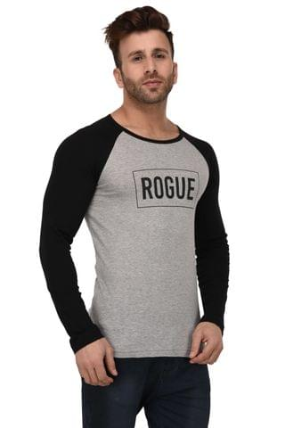 Rigo Grey And Black Rogue Print Full Sleeve Slim Fit Tshirt For Men