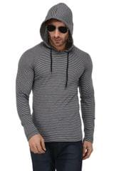 Rigo Grey & Blue Stripe Hooded Full Sleeve Slim Fit Tshirt For Men