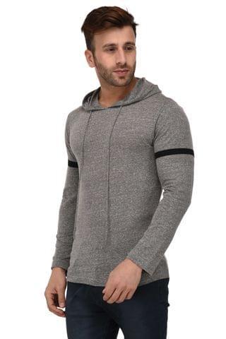Rigo Grey Hooded Full Sleeve Slim Fit Tshirt For Men