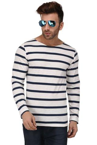 Rigo White & Blue Stripe Scoop Neck Full Sleeve Slim Fit Tshirt For Men