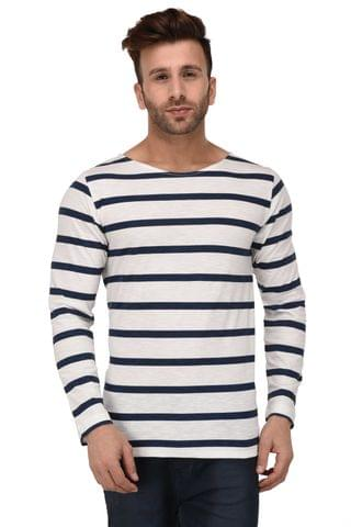 Rigo White & Blue Stripe Scoop Neck Full Sleeve Slim Fit Tshirt For Men
