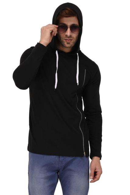 Rigo Black Hooded Zip Full Sleeve Slim Fit Tshirt For Men