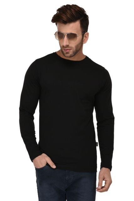 Rigo Black Bottom Side Zip Full Sleeve Slim Fit Tshirt For Men