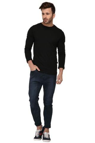 Rigo Black Bottom Side Zip Full Sleeve Slim Fit Tshirt For Men