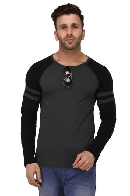 Rigo Dark Grey And Black Raglan Full Sleeve Slim Fit Tshirt For Men