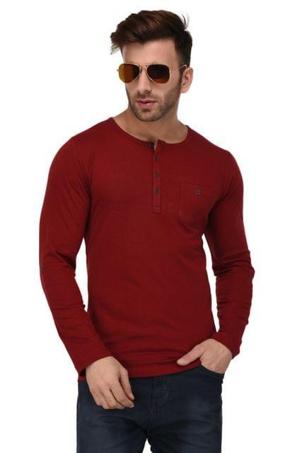 Rigo Maroon Henley Full Sleeve Slim Fit Tshirt For Men
