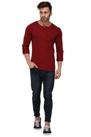 Rigo Maroon Henley Full Sleeve Slim Fit Tshirt For Men