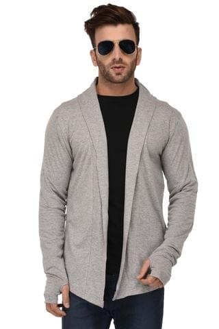 Rigo Grey Melange Open Long Cardigan Full Sleeve Shrug For Men