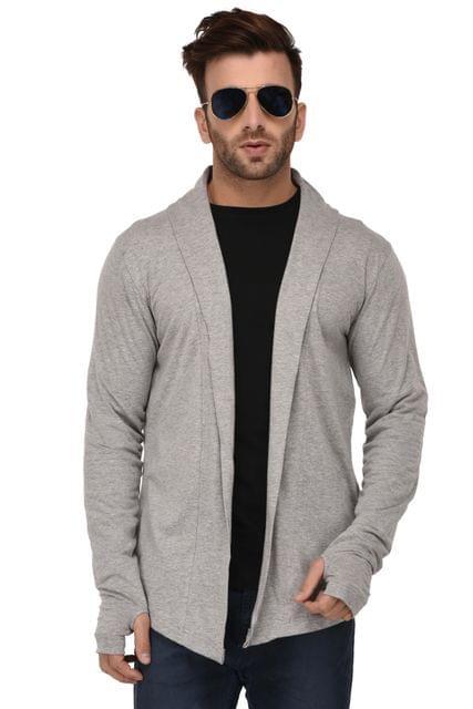 Rigo Grey Melange Open Long Cardigan Full Sleeve Shrug For Men