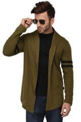 Rigo Army Green Open Long Cardigan Full Sleeve Shrug For Men