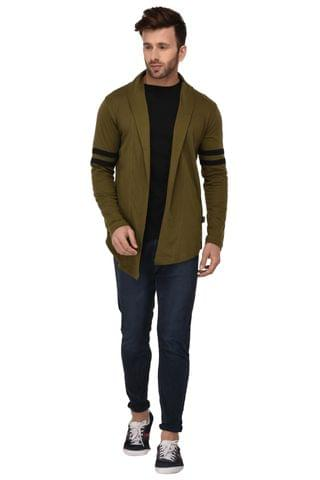 Rigo Army Green Open Long Cardigan Full Sleeve Shrug For Men