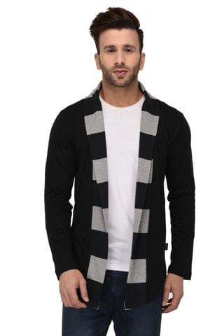 Rigo Black Stripe Collar Open Long Cardigan Full Sleeve Shrug For Men