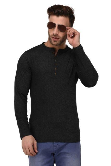 Rigo Black Lycra Denim Full Sleeve Slim Fit Tshirt For Men