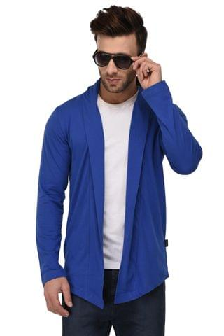 Rigo Royal Blue Open Long Cardigan Full Sleeve Shrug For Men