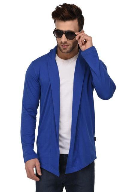 Rigo Royal Blue Open Long Cardigan Full Sleeve Shrug For Men