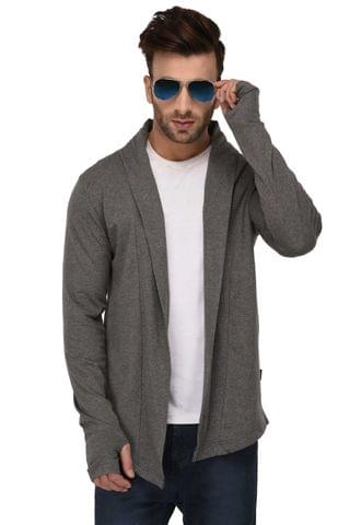 Rigo Charcoal Melange Thumbhole Open Long Cardigan Full Sleeve Shrug For Men
