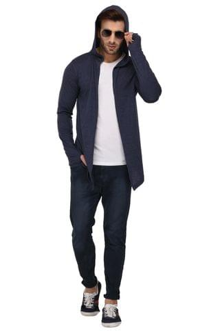 Rigo Blue Melange Hooded Open Long Cardigan Full Sleeve Shrug For Men