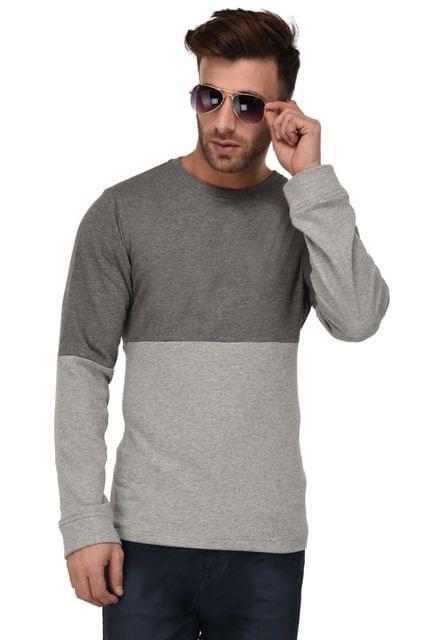 Rigo Charcoal & Grey Color Block Full Sleeve Terry Sweatshirt For Men