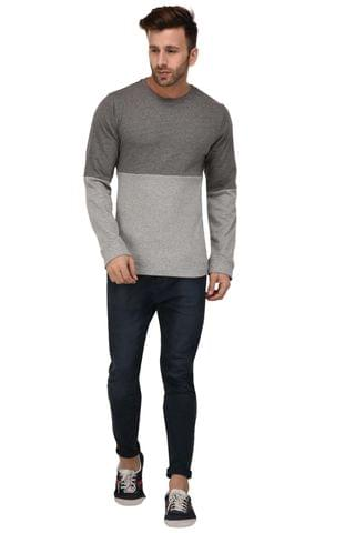 Rigo Charcoal & Grey Color Block Full Sleeve Terry Sweatshirt For Men
