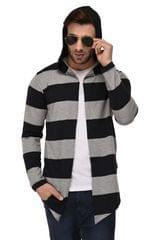 Rigo Black & Grey Stripe Hooded Open Long Cardigan Full Sleeve Shrug For Men