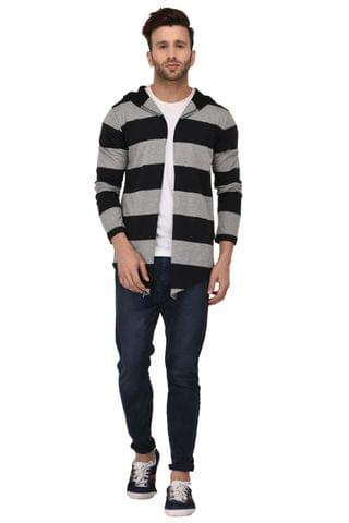 Rigo Black & Grey Stripe Hooded Open Long Cardigan Full Sleeve Shrug For Men
