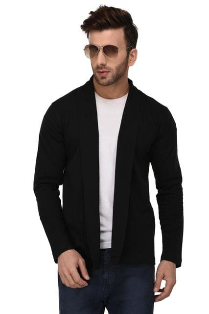 Rigo Black Open Cardigan Full Sleeve Shrug For Men