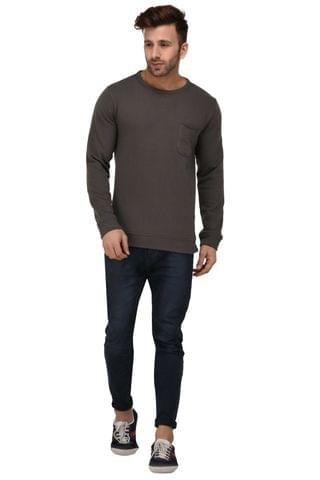 Rigo Grey Color Full Sleeve Fleece Sweatshirt For Men