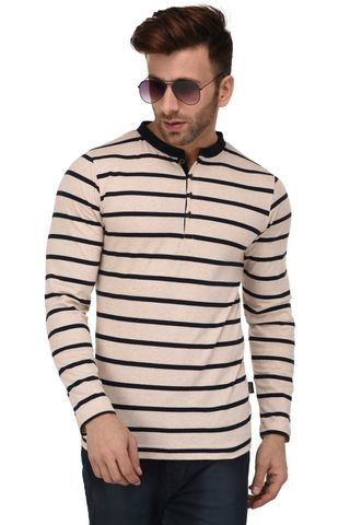 Rigo Off White And Navy Stripe Henley Full Sleeve Slim Fit Tshirt For Men