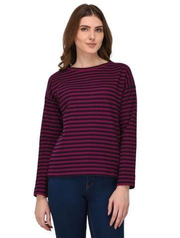 Rigo Multi Striped Drop Shoulder Top for Women