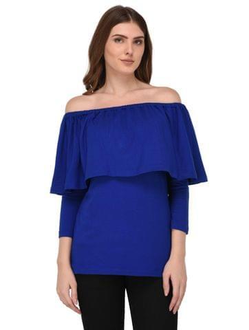 Rigo Royal Blue Off Shoulder Top for Women