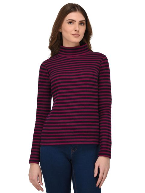 Rigo Multi Striped High Neck Top for Women