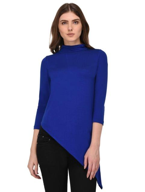 Rigo Royal Blue Asymmetric Hem Top for Women