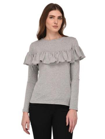 Rigo Ruffle Detailed Grey Top for Women