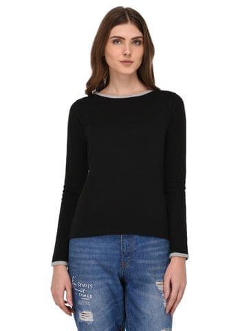 Rigo Black Full Sleeves Top for Women
