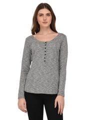 Rigo Shimmer Striped Henley Neck Top for Women
