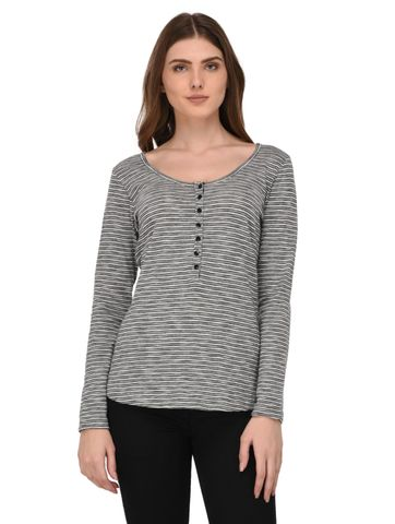 Rigo Shimmer Striped Henley Neck Top for Women