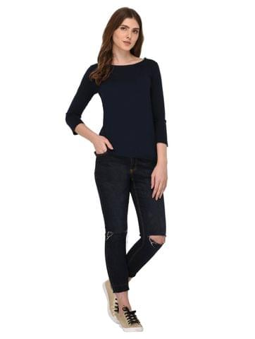 Rigo Navy Blue Top With Zip Detailed Sleeves for Women