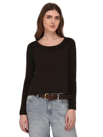 Rigo Brown Full Sleeves Top for Women