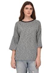 Rigo Shimmer Striped Drop Shoulder Top for Women