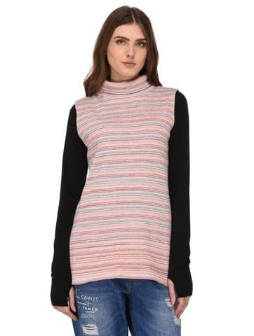 Rigo Multi Striped High Neck Sleeveless Top for Women