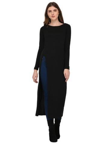 Rigo Black Front Slit Maxi Top for Women