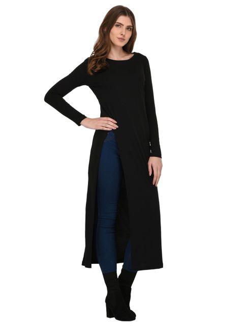 Rigo Black Front Slit Maxi Top for Women