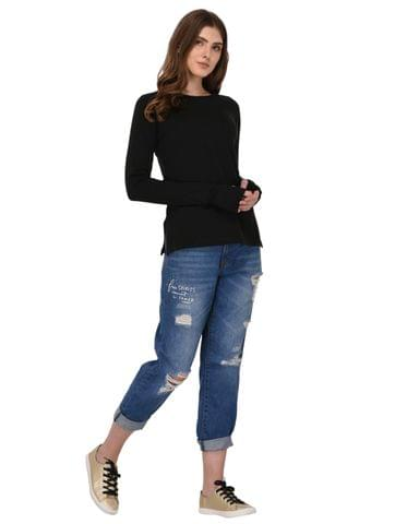 Rigo Black Full Sleeves Thumhole Top for Women
