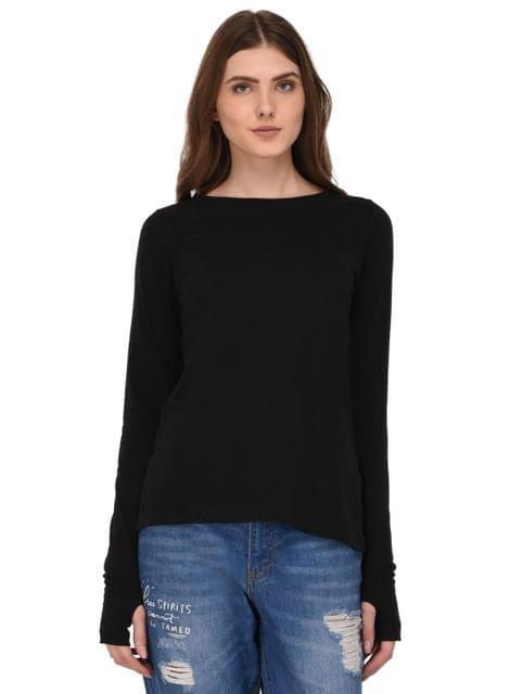 Rigo Black Full Sleeves Thumhole Top for Women