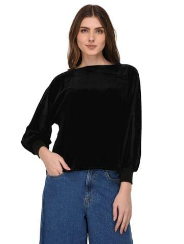 Rigo Black Velvet Balloon Sleeves Top for Women