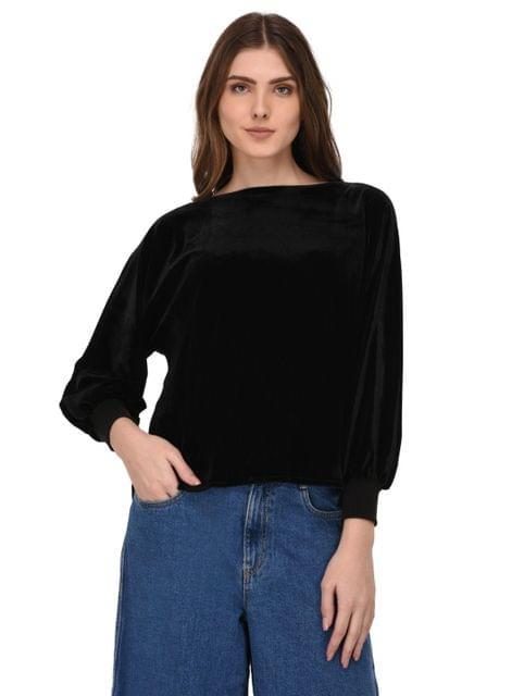 Rigo Black Velvet Balloon Sleeves Top for Women