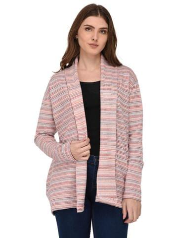 Rigo Multi Striped Shawl Collar Shrug for Women